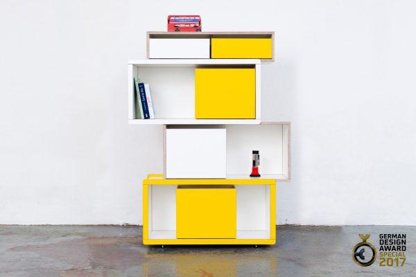 Brick for Kids Regalsystem mit gelben und weißen Elementen