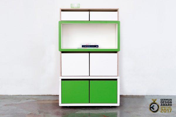 Brick for Kids Regalsystem mit grünen und weißen Elementen