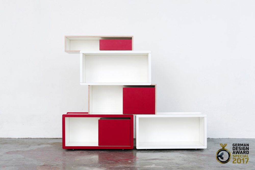 Brick for Kids Regalsystem mit roten und weißen Elementen