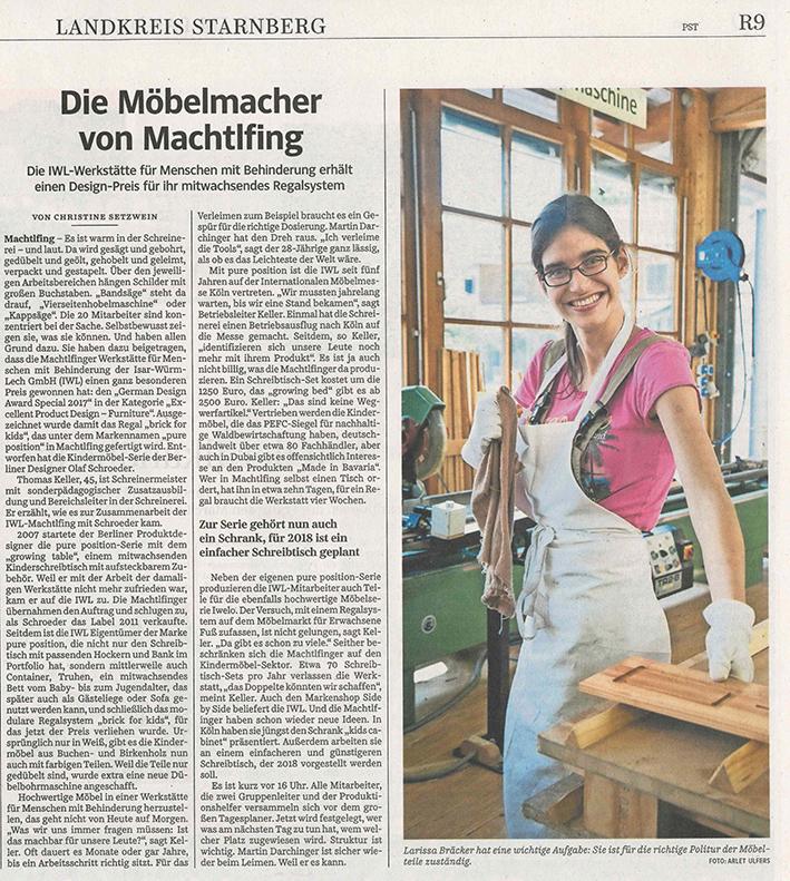 """Zeitungartikel """"Die Möbelmacher von Machtlfing"""""""