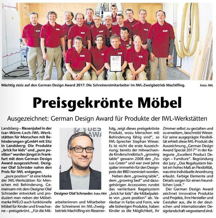 """Zeitungsartikel """"Preisgekrönte Möbel"""""""