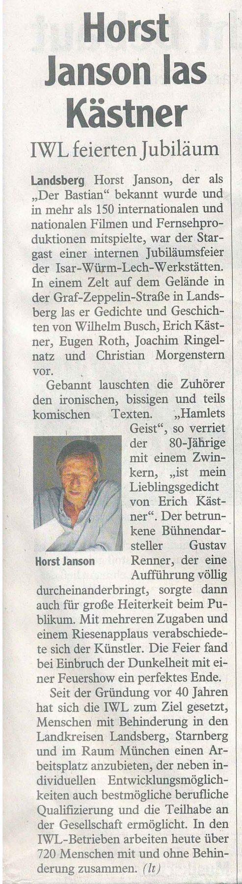 "Zeitungsartikel ""Horst Janson las Kästner"""