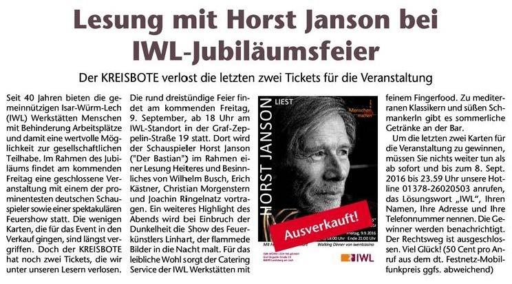 """Zeitungsartikel """"Lesung mit Horst Janson"""""""