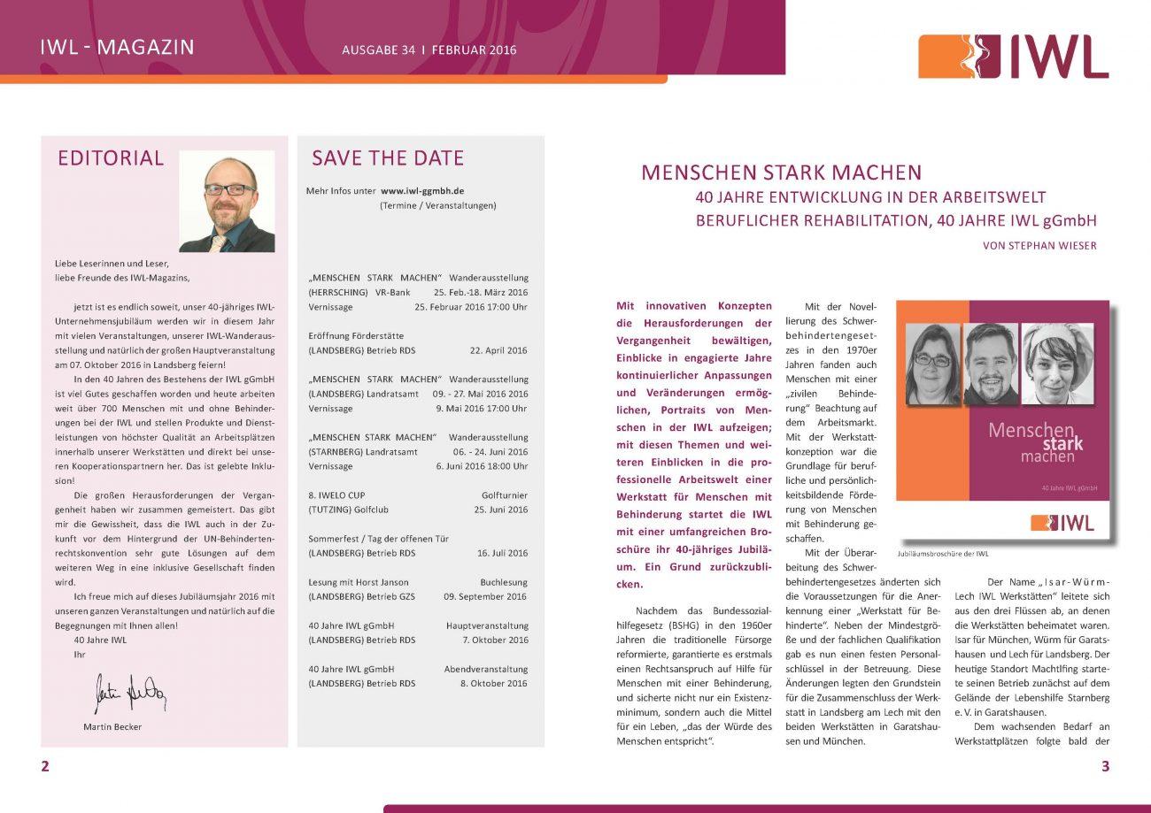 IWL-MAGAZIN Mitarbeiterzeitschrift Unternehmensbroschüre