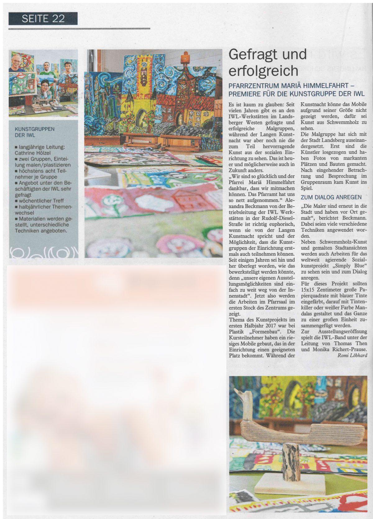 """Zeitungsartikel über die Teilnahme an der """"LAngen Kunstnacht"""" in Landsberg am Lech"""