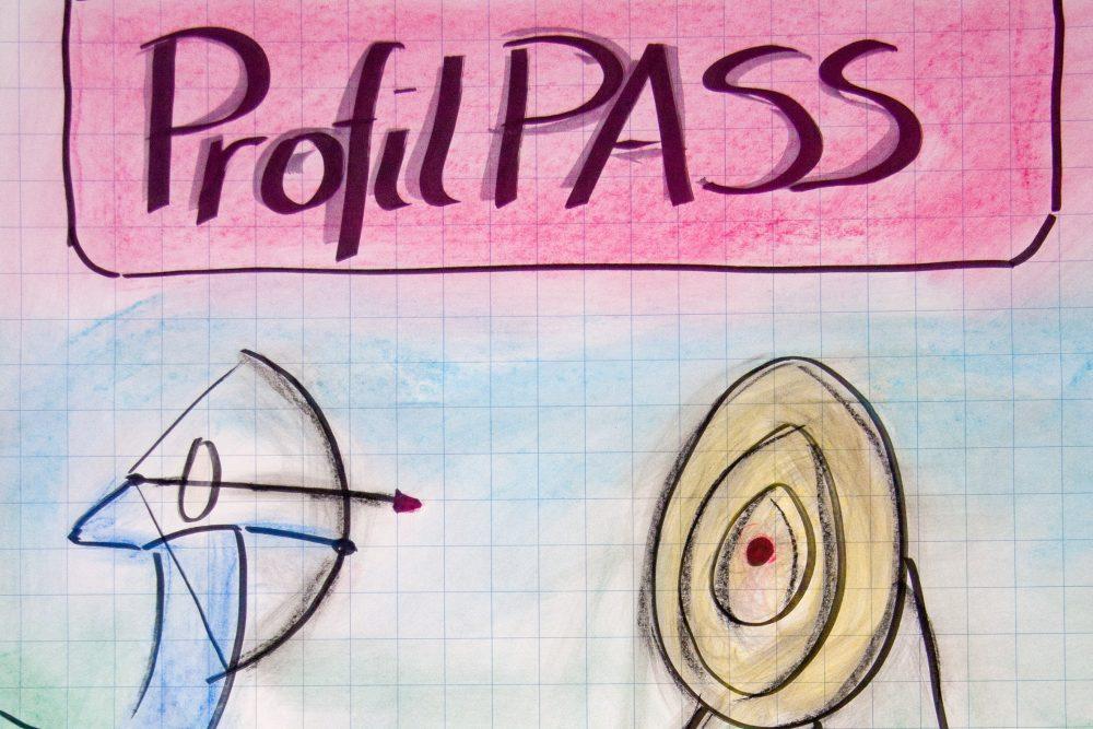 Zeichnung: Ein Bogenschütze zielt auf eine Zielscheibe
