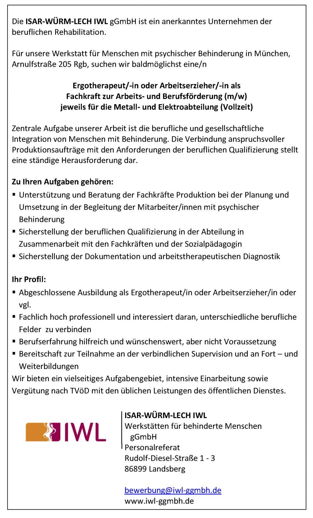 Fachkraft zur Arbeits- und Berufsförderung (m/w) jeweils für die Metall-  und Elektroabteilung im Betrieb München