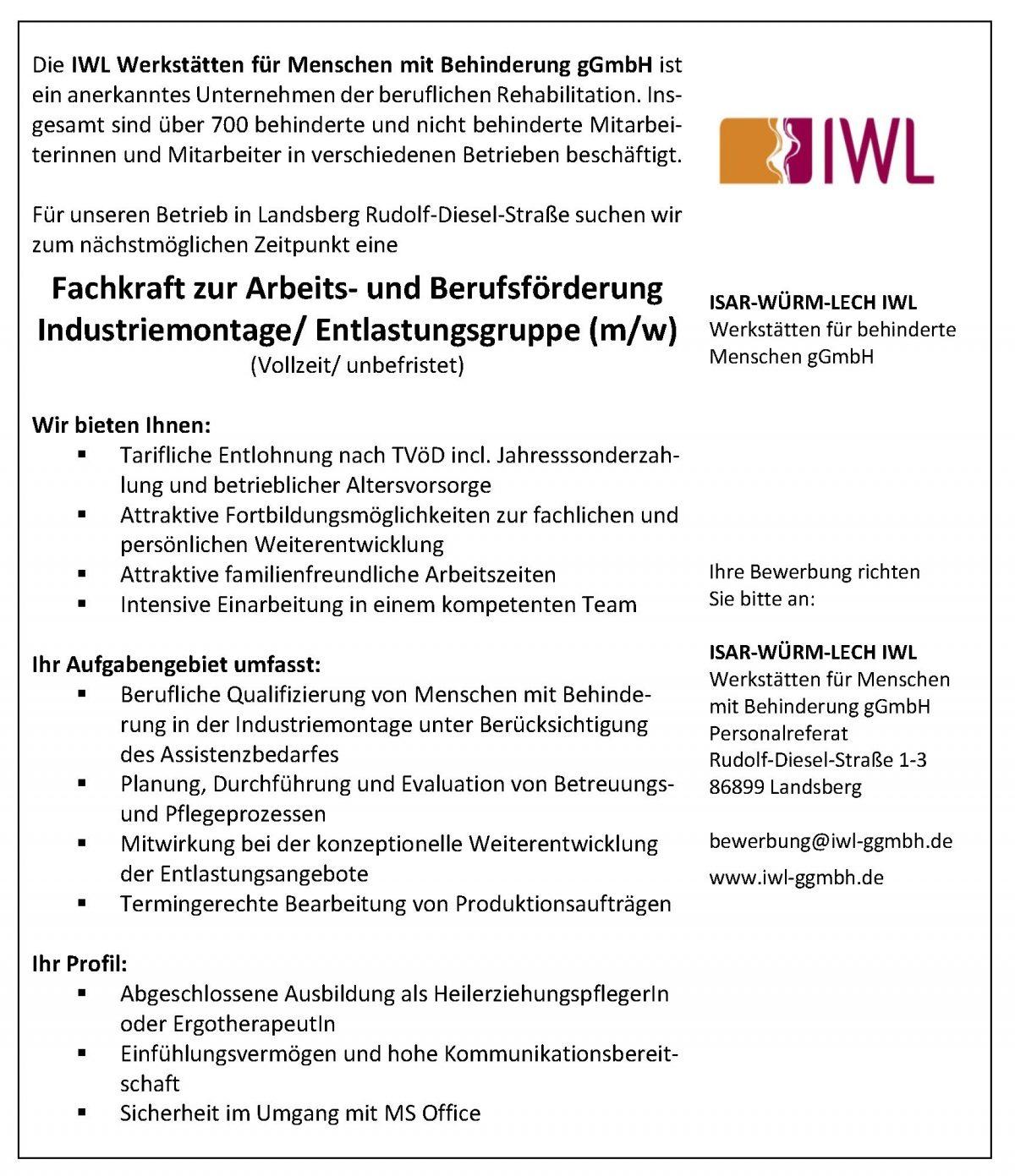 fachkraft zur arbeits und berufsfrderung industriemontageentlastungsgruppe mw im betrieb landsberg rds - Bewerbung Heilerziehungspfleger
