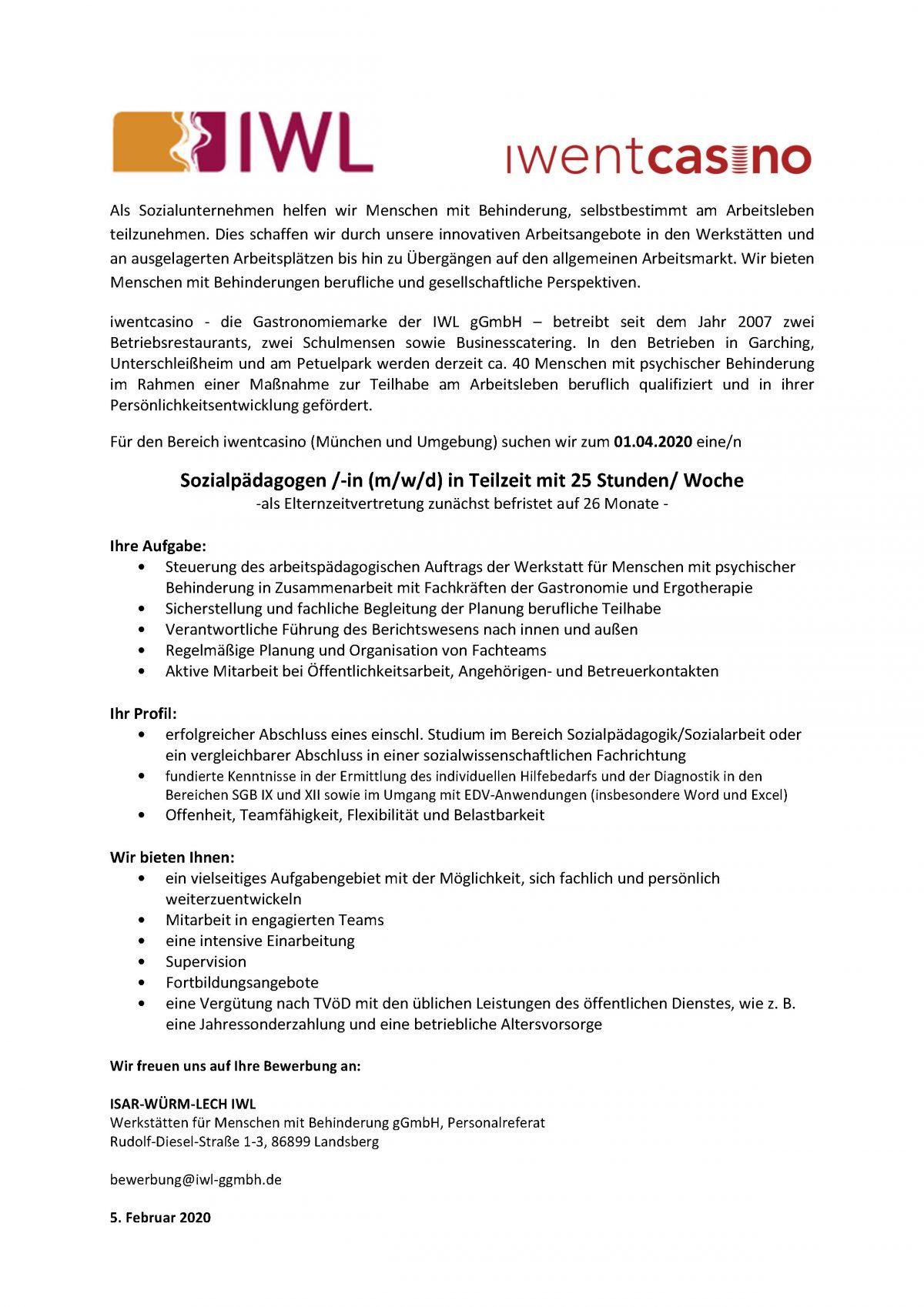 Stellenanzeige Sozialpädagoge/in