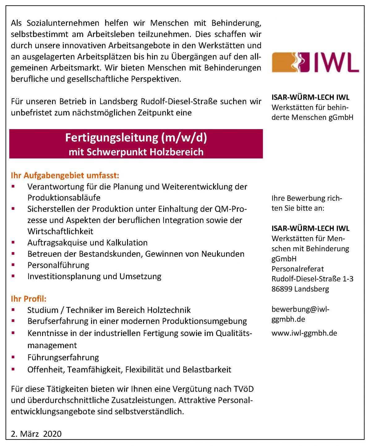 Fertigungsleitung Holz_IWL