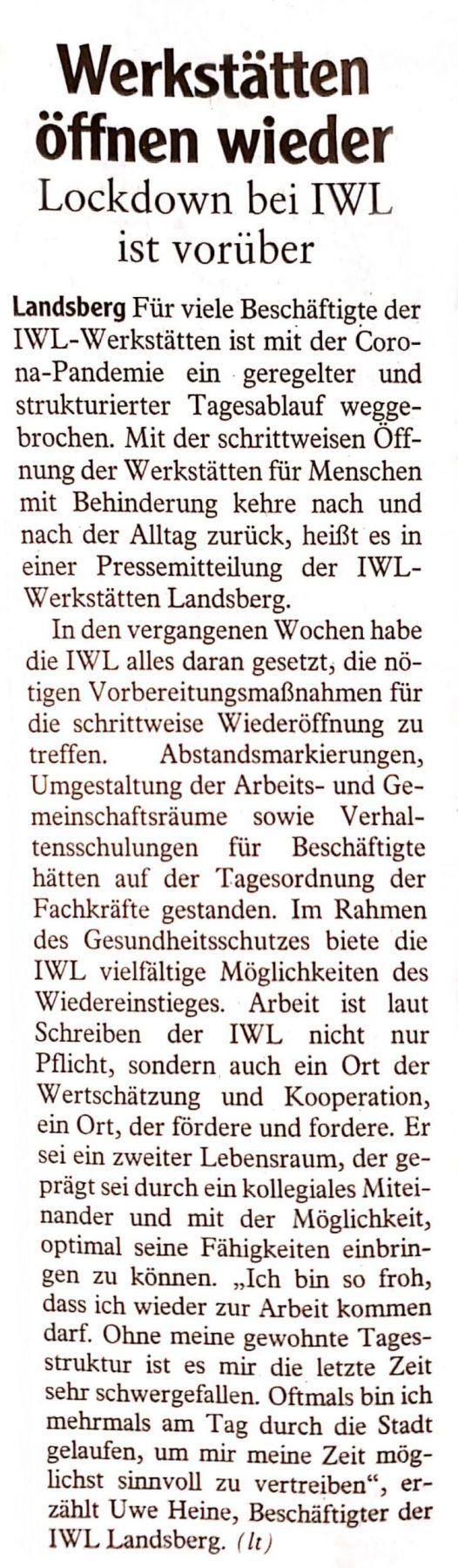 Corona Lockerungen IWL Landsberger Tagblatt