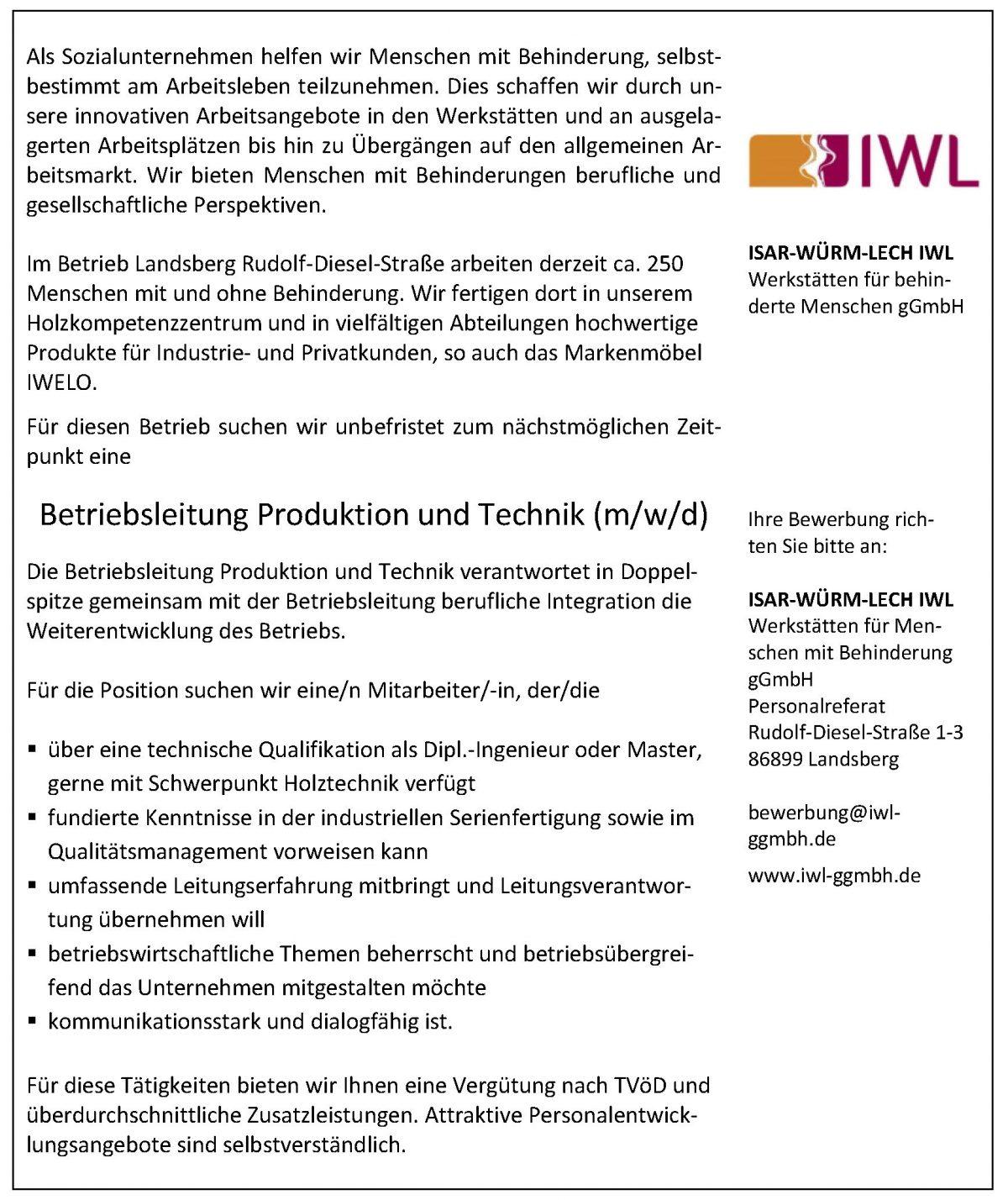 Stellenanzeige Produktion und Technik IWL