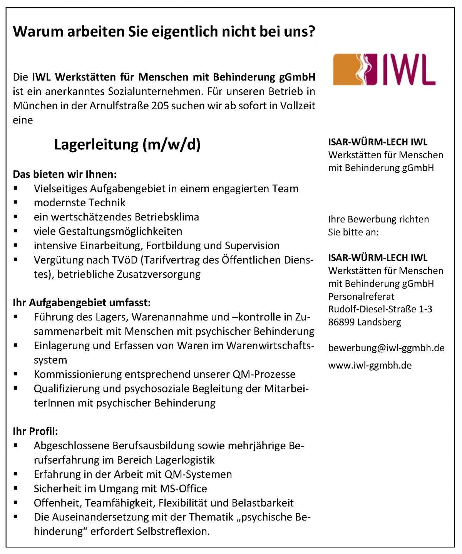 Stellenanzeige IWL München Lagerleitung München