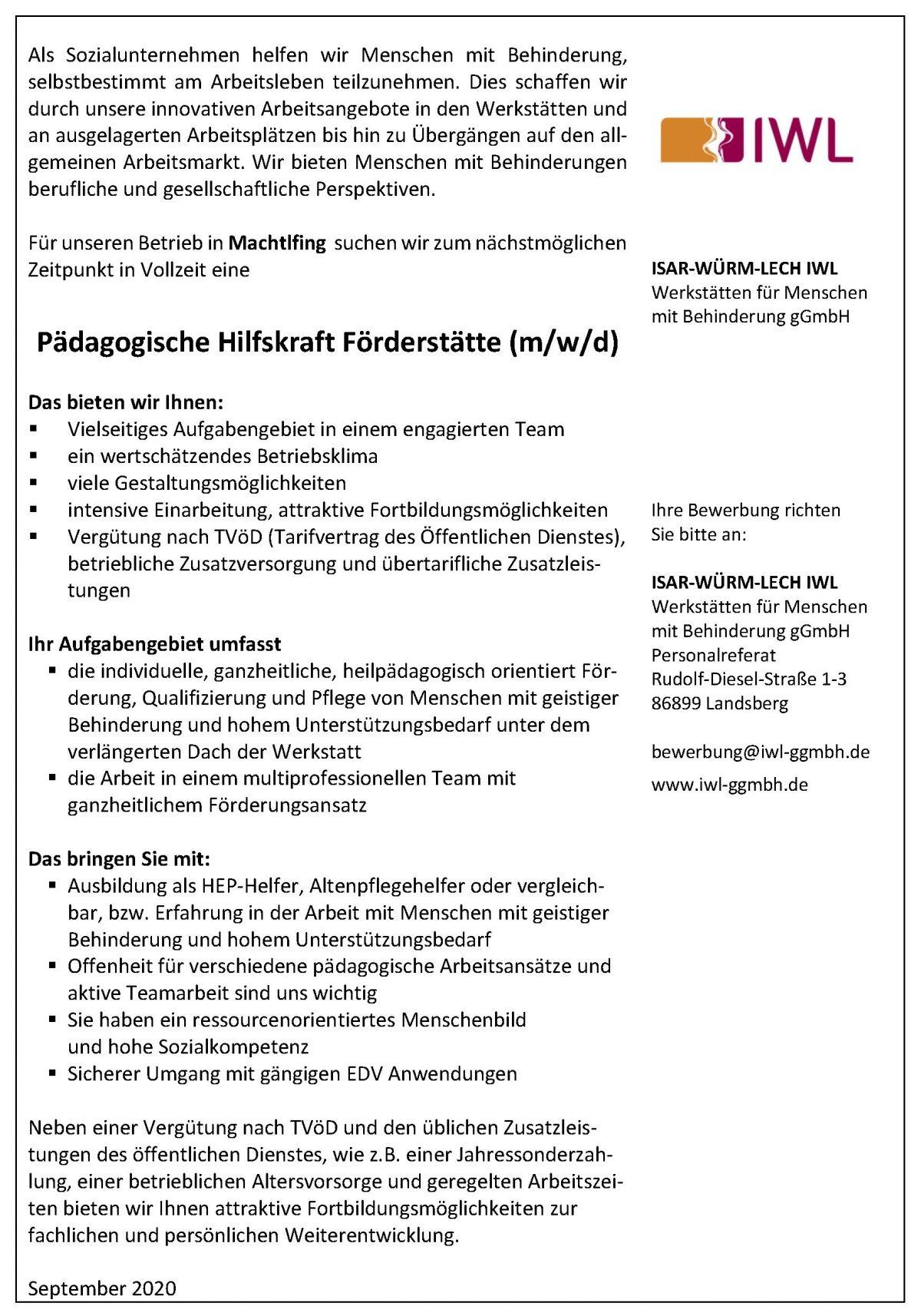 Stellenanzeige Pädagogische Hilfskraft Förderstätte Machtlfing Starnberg