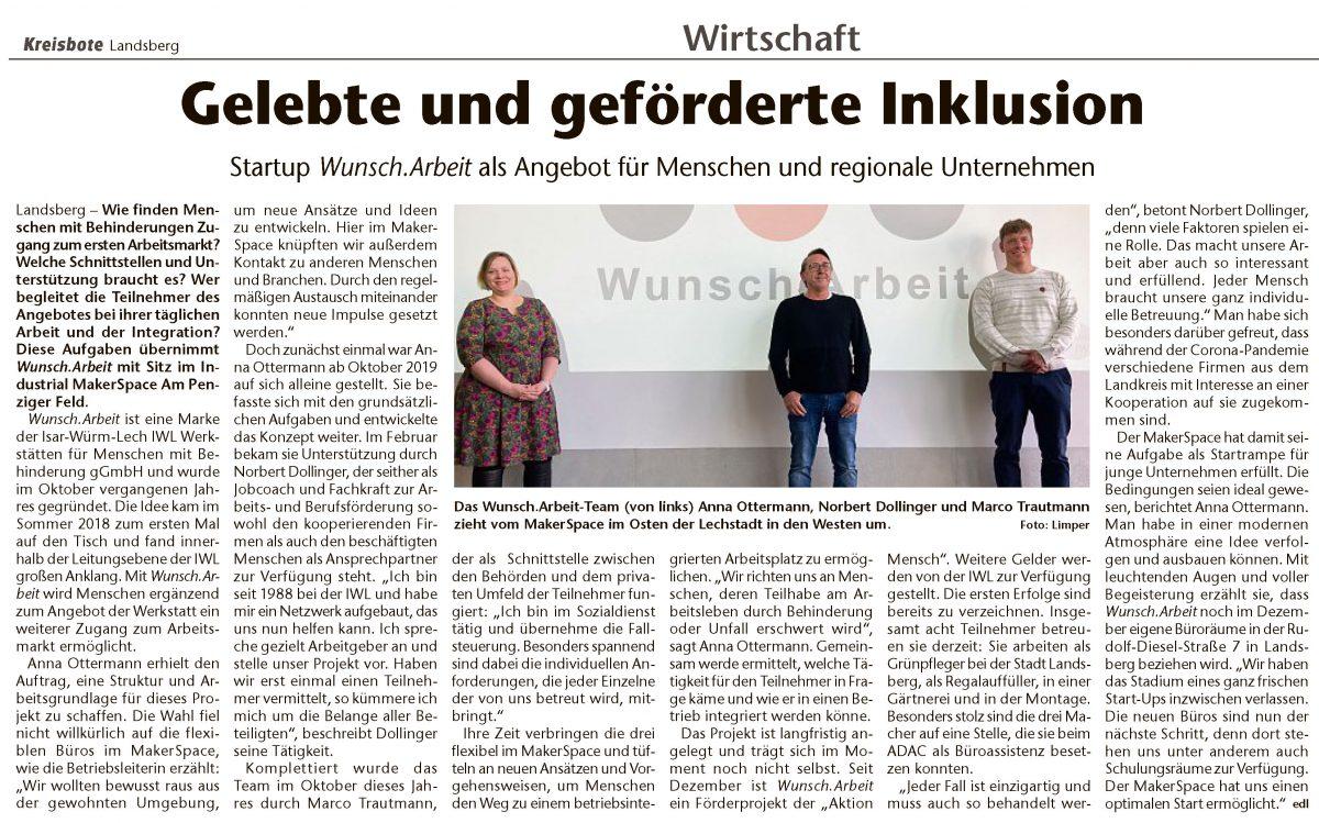 Kreisbote Landsberg Wunsch.Arbeit IWL