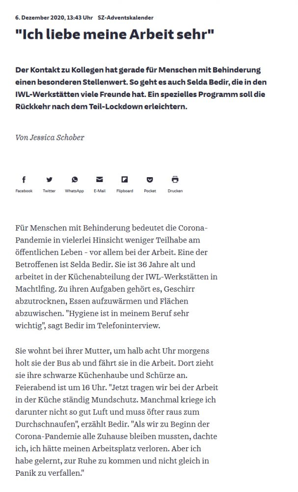 Zeitungsbericht Süddeutsche Zeitung IWL