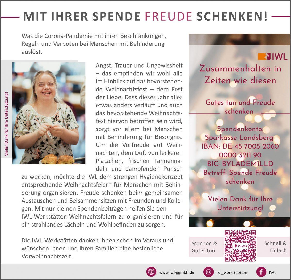 Spendenaufruf IWL im Landsberger Tagblatt