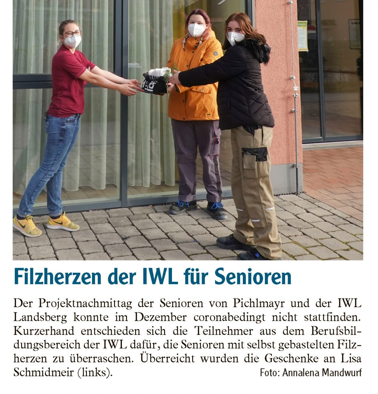 Spendenübergabe IWL Zeitungsartikel Landsberger Tagblatt