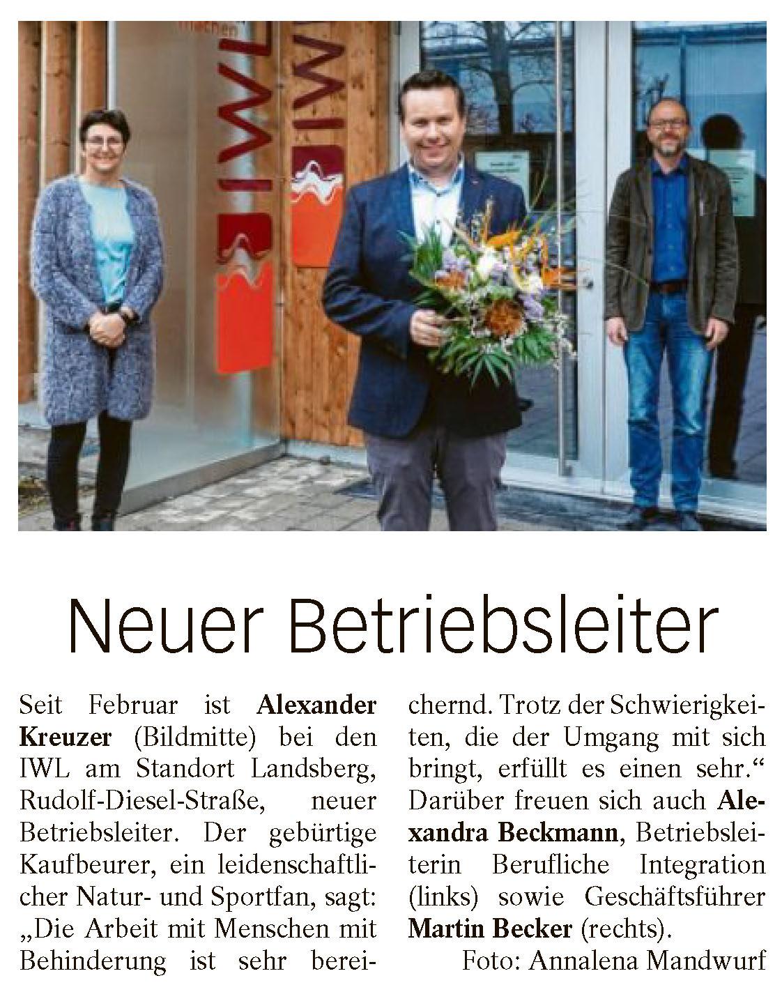 Neuer Betriebsleiter IWL Alexander Kreuzer