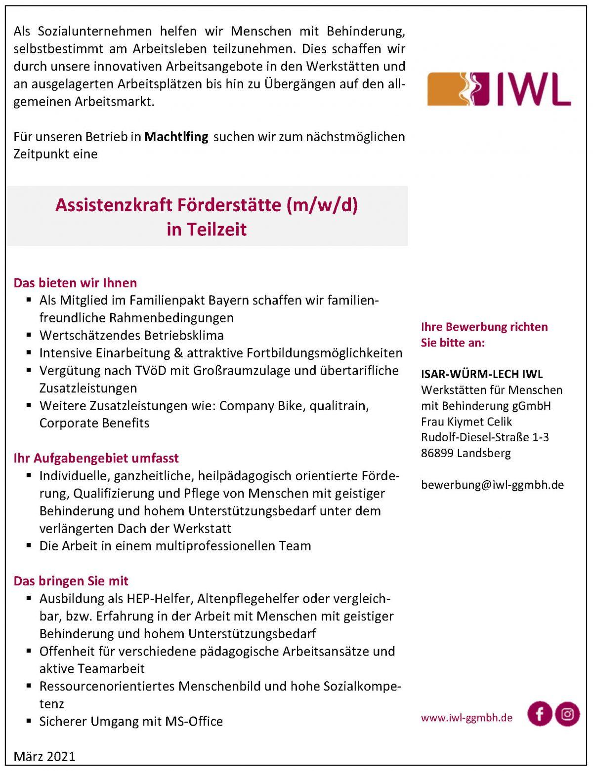 Stellenanzeige IWL Assistenzkraft Förderstätte Machtlfing