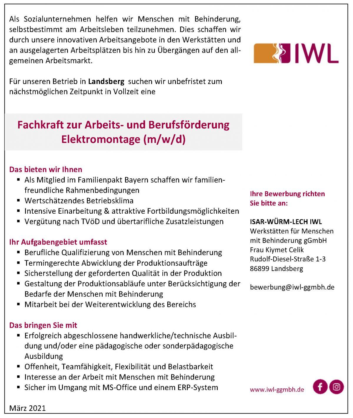 Stellenanzeige IWL Landsberg Fachkraft zur Arbeits- und Berufsförderung Elektromontage