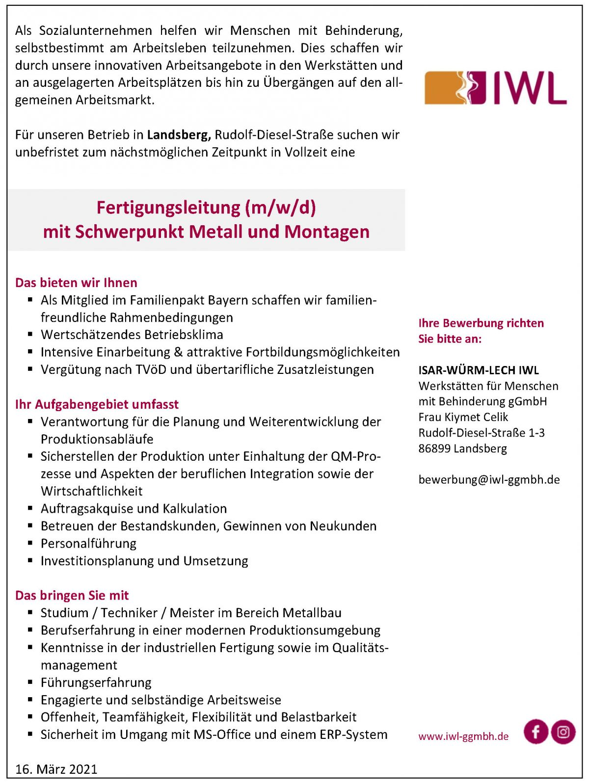 Stellenanzeige IWL Fertigungsleitung Landsberg