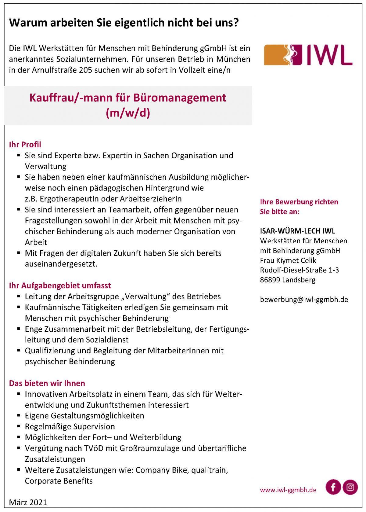 Stellenanzeige IWL München Kauffrau für Büromanagement