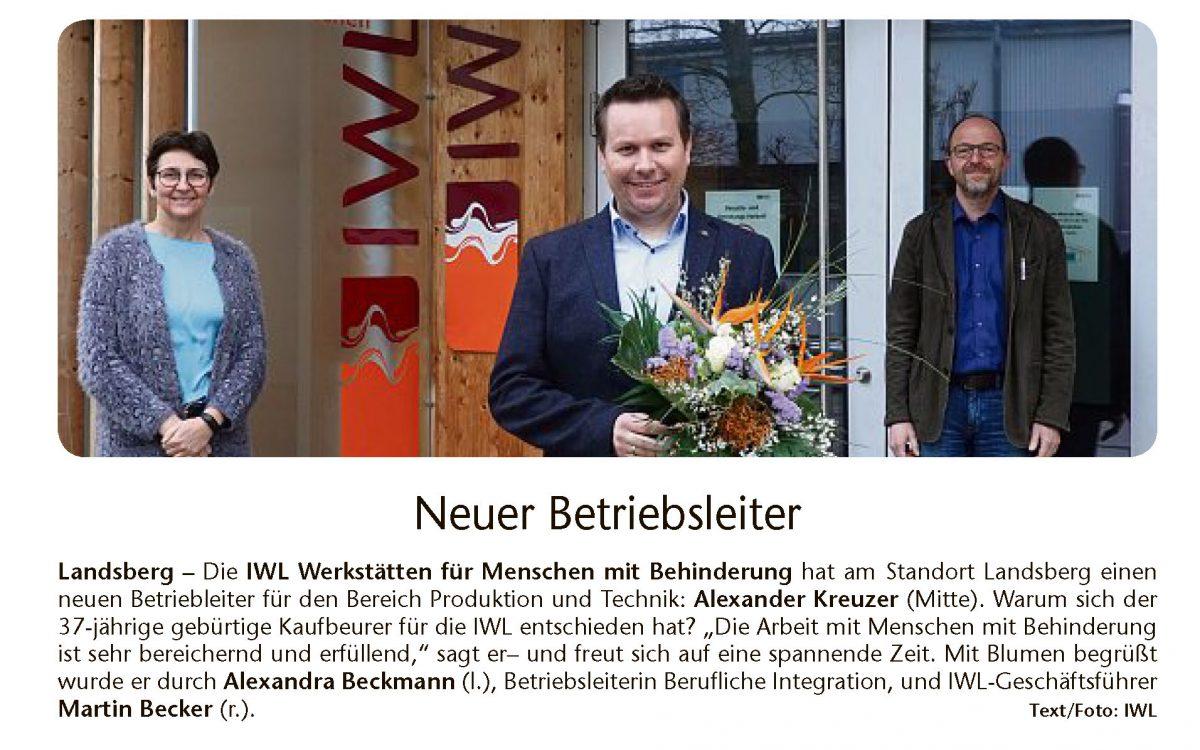 Neuer Betriebsleiter Alexander Kreuzer bei der IWL