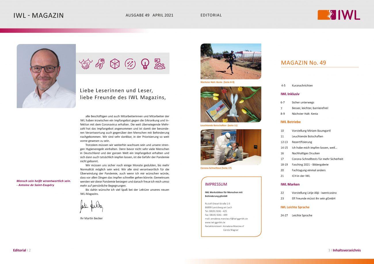 IWL-Magazin Ediorial und Inhaltsverzeichnis