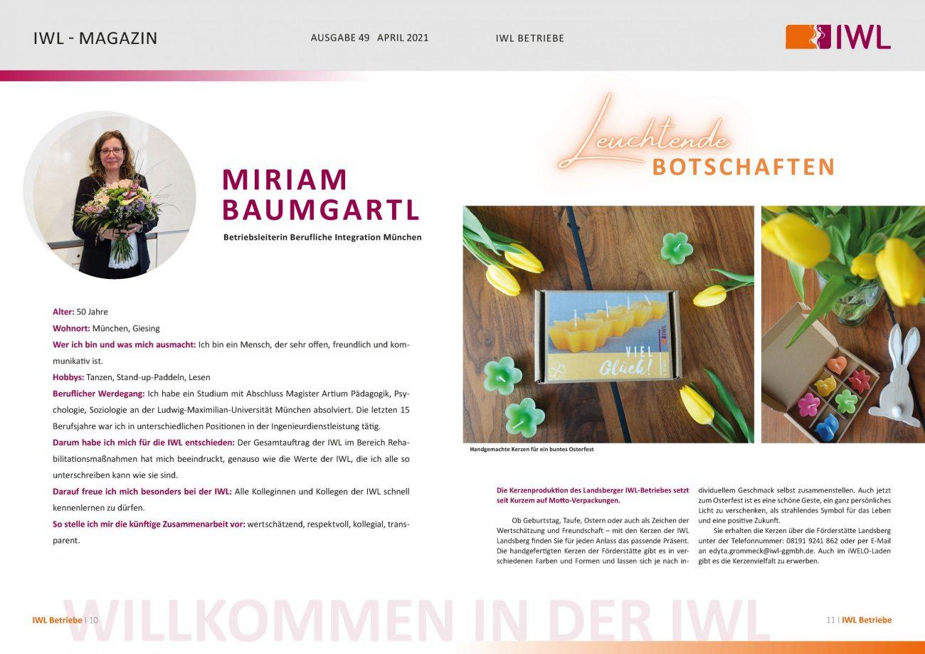 IWL-Magazin Vorstellung Miriam Baumgartl und Kerzen der IWL als Eigenprodukt
