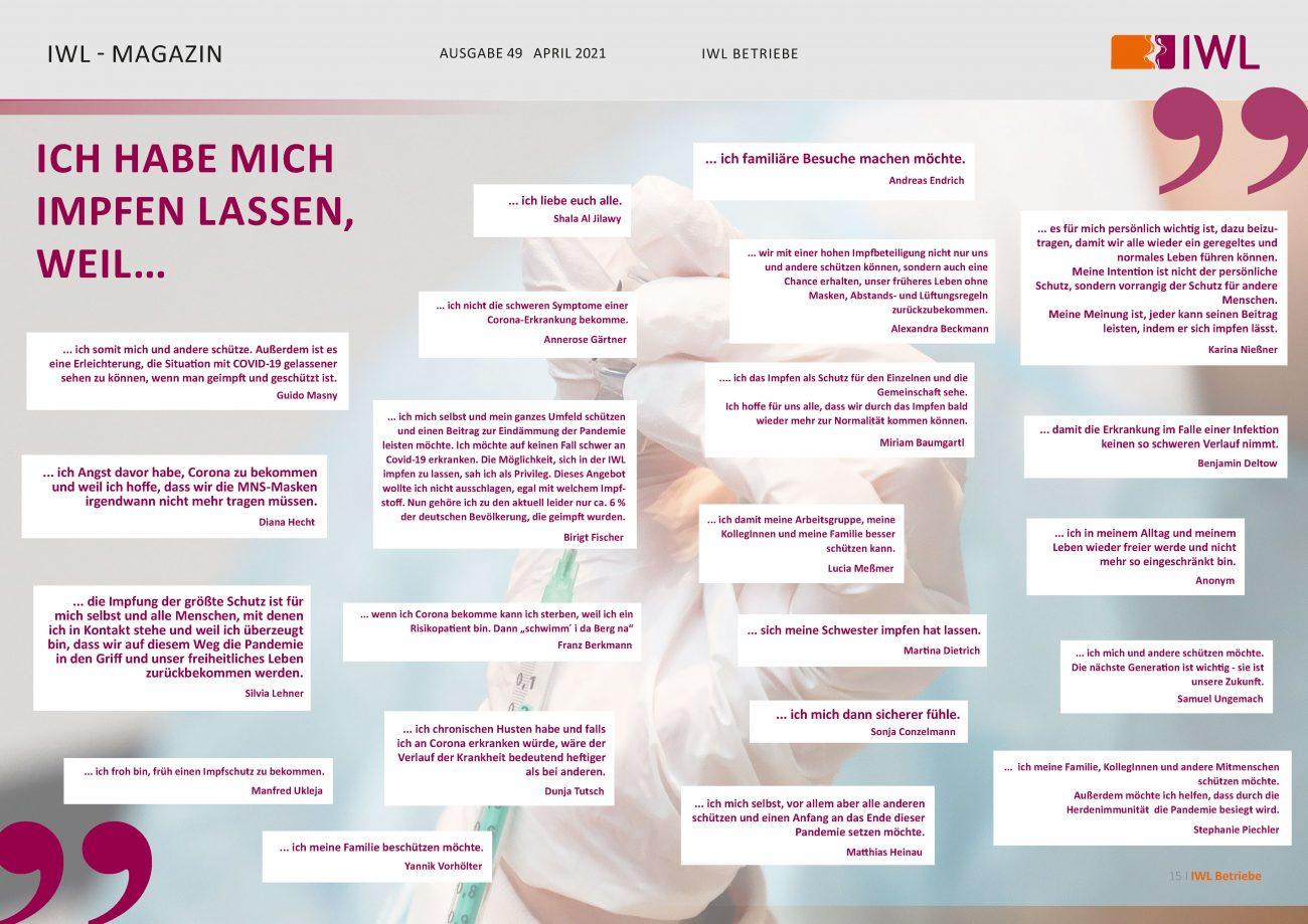 """IWL-Magazin mit Antworten auf die Frage """"Ich habe mich impfen lassen, weil..."""""""