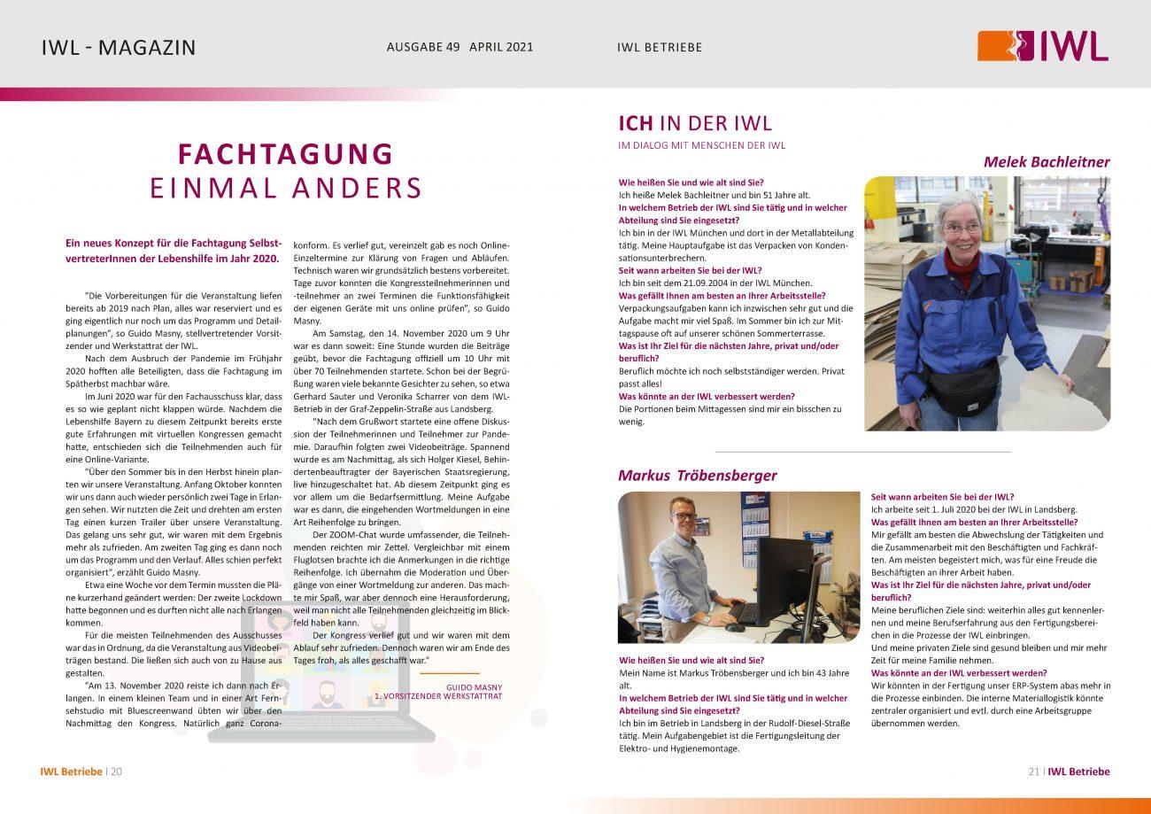 IWL-Magazin Artikel Fachtagung der Lebenhilfe SelbstvertreterInnen und Vorstellung zwei MitarbeiterInnen