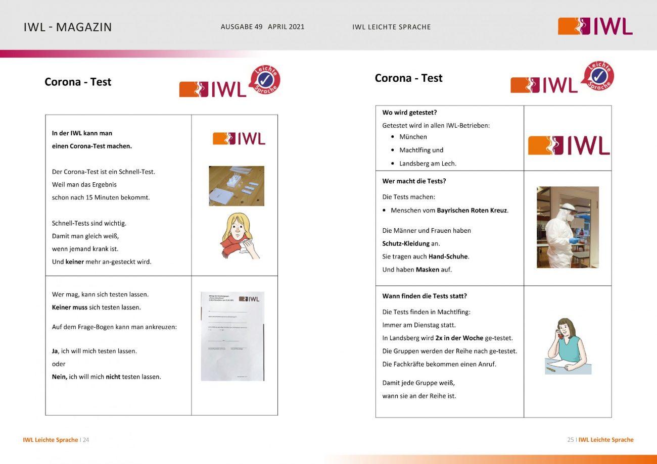 IWL-Magazin Leichte Sprache Thema Corona-Schnelltests