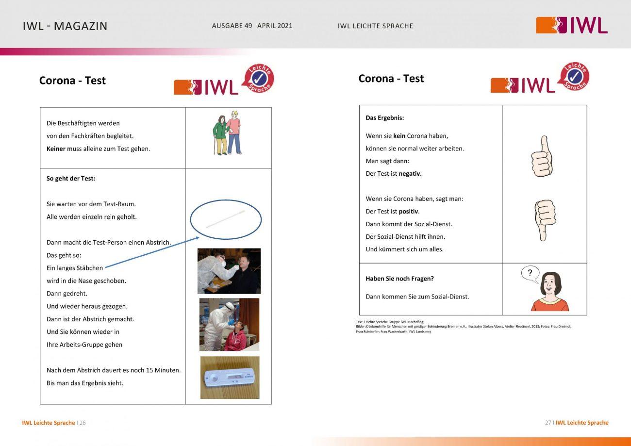 IWL-Magazin Leichte Sprache Thema Corona-Schnelltest