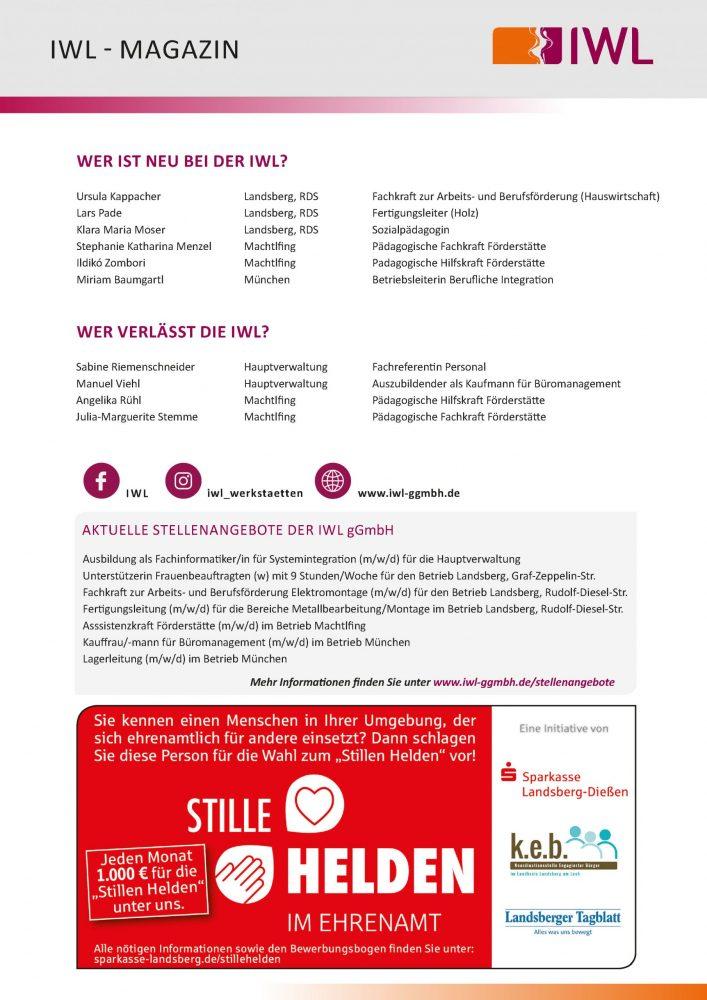IWL-Magazin letzte Seite mit Ein- und Austritten, Stellenanzeigen und einer Werbeanzeige der Sparkasse Landsberg Dießen