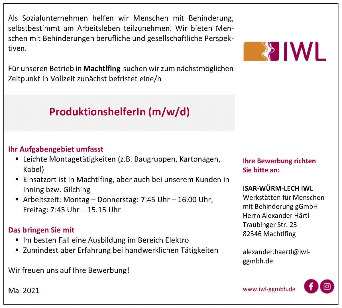 Stellenanzeige IWL ProduktionshelferIn Machtlfing in Vollzeit