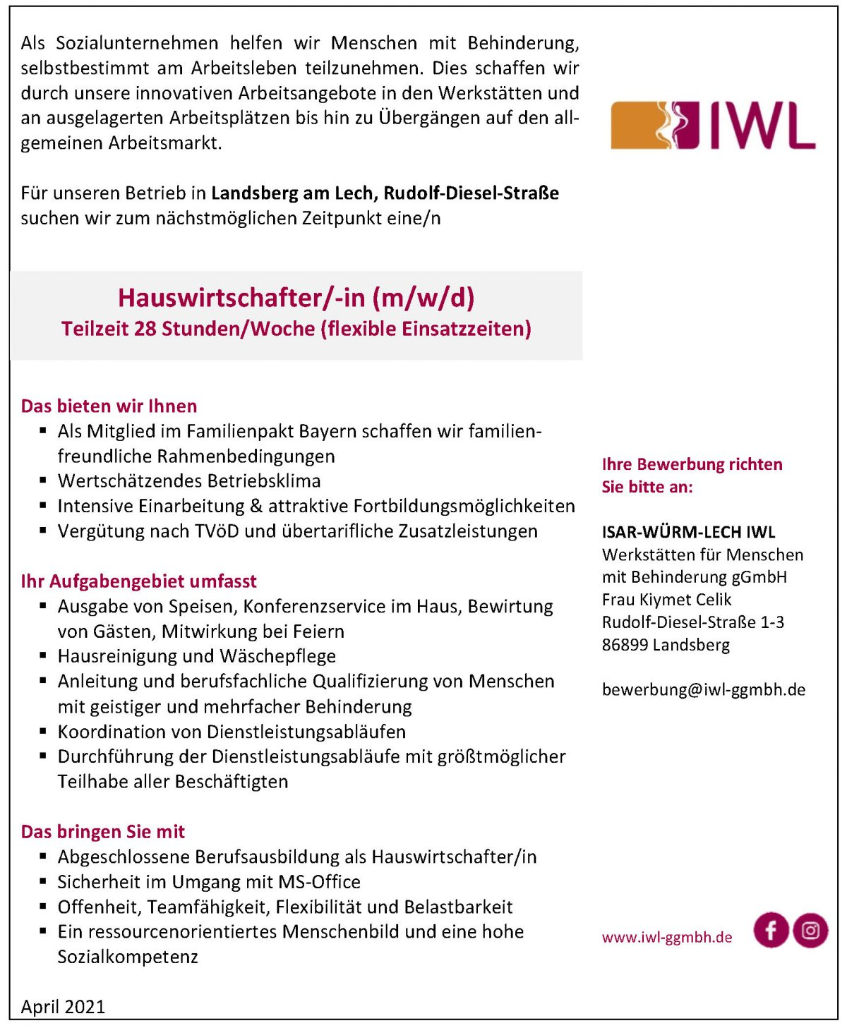Stellenanzeige IWL Hauswirtschafter/in Teilzeit