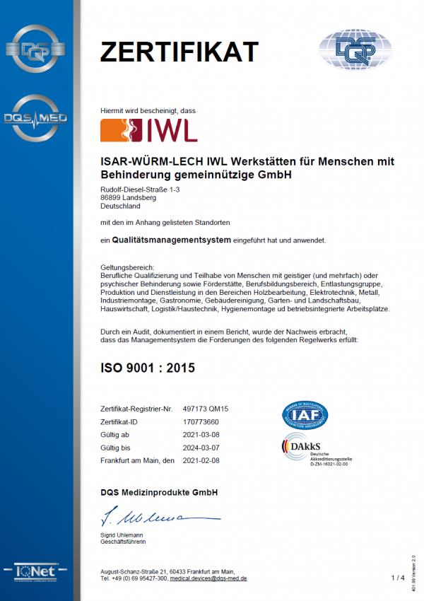 IWL Zertifikat Din Iso 9001:2015