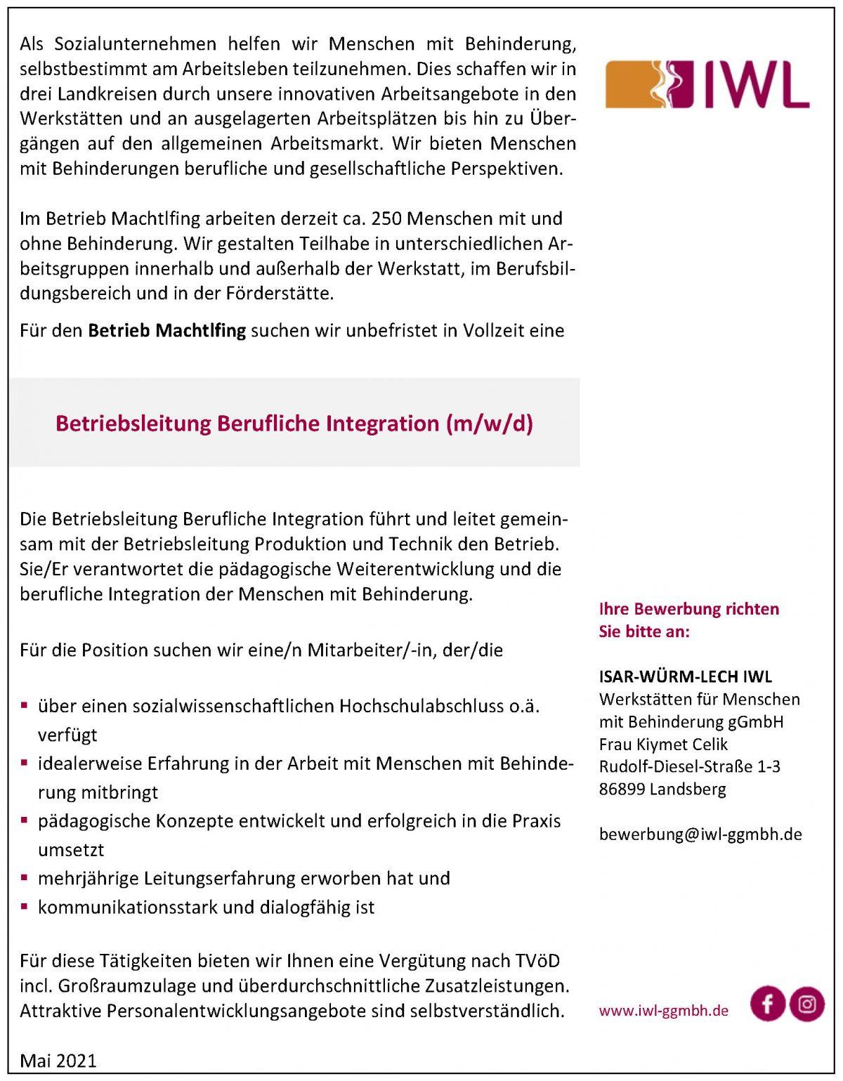 Stellenangebot IWL Berufliche Integration Machtlfing