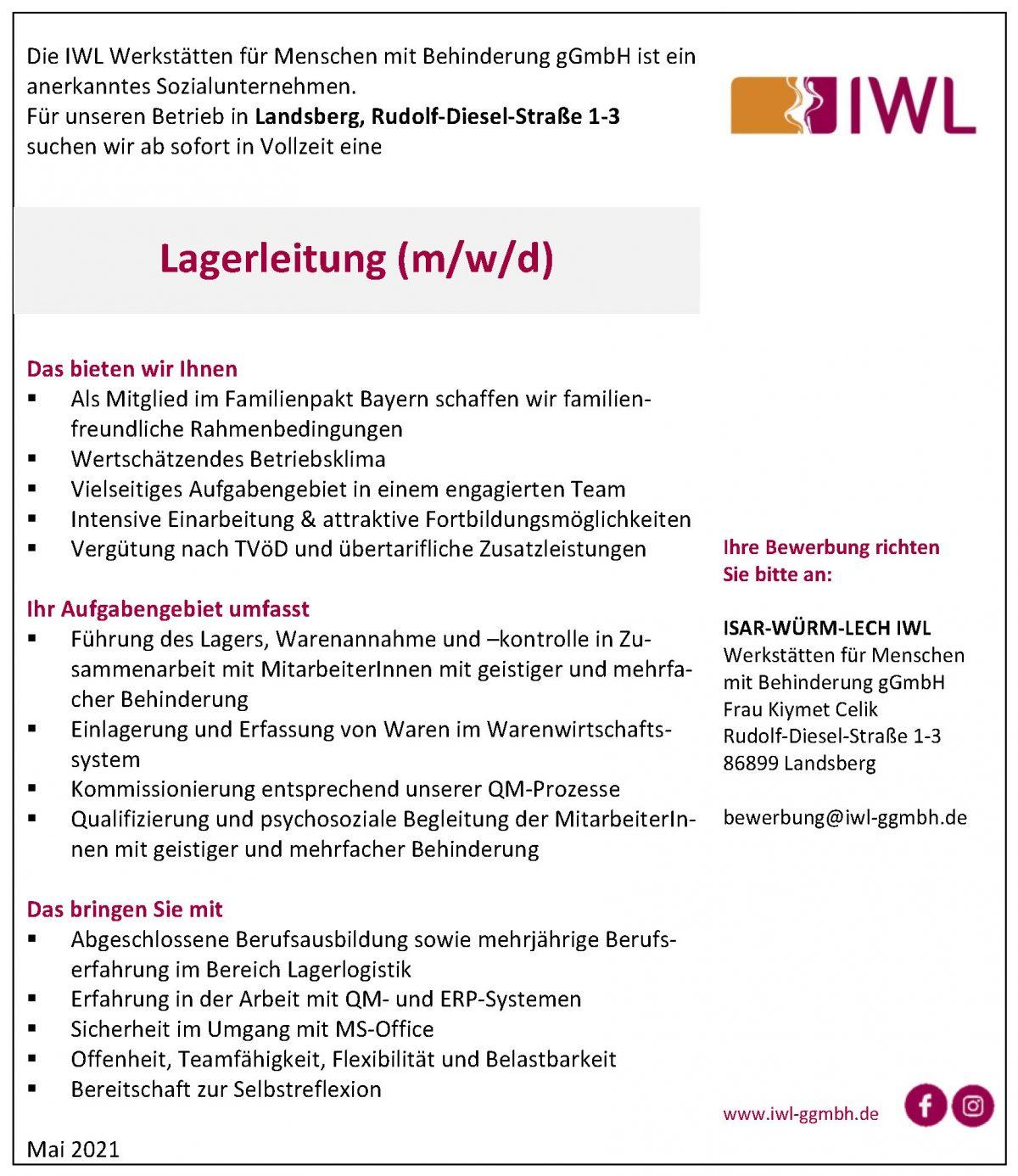 IWL Stellenangebot Lagerleitung in Vollzeit Landsberg am Lech