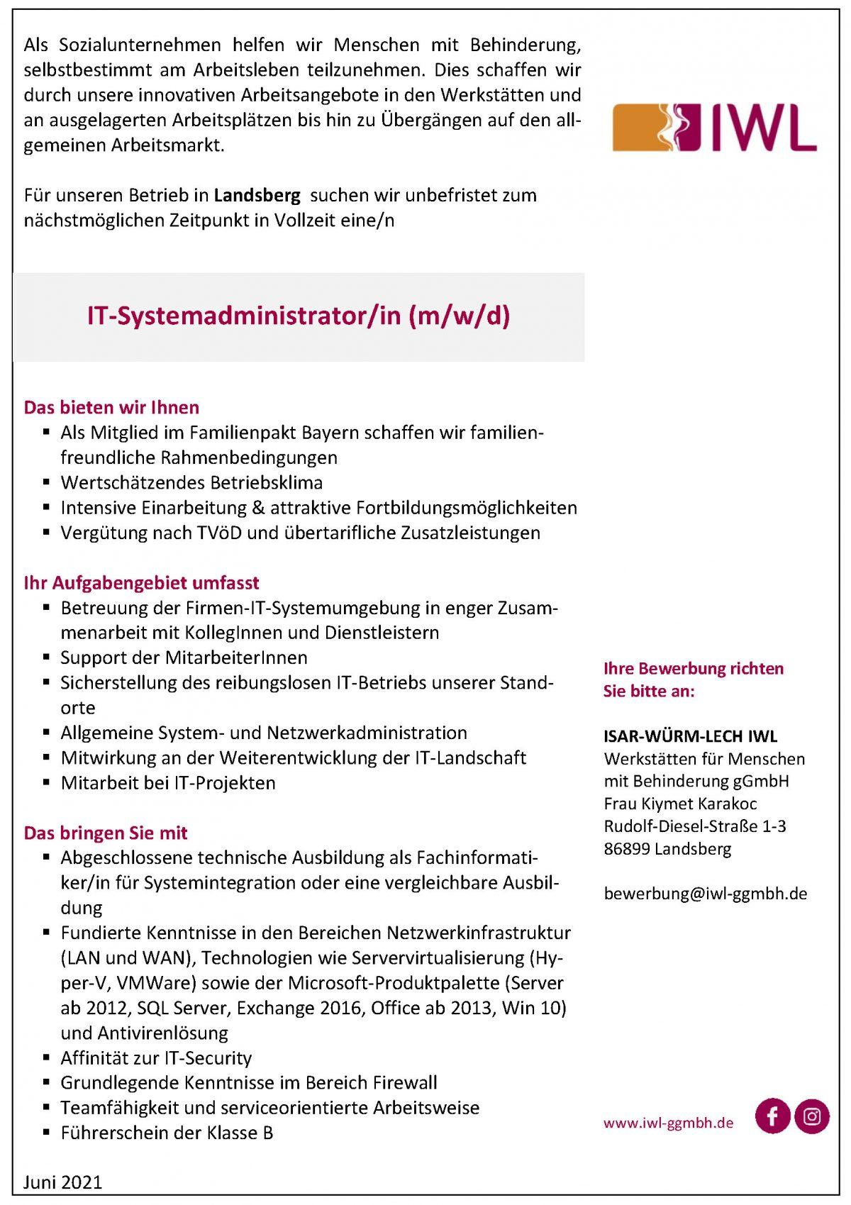 IWL Stellenanzeige zum/zur IT-Systemadministrator/in