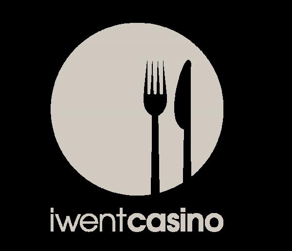 iwentcasino Logo mit einem hellgrauen Kreis, einer weißen Gabel und einem weißen Messer in der Mitte und dem Schriftug iwentcasino