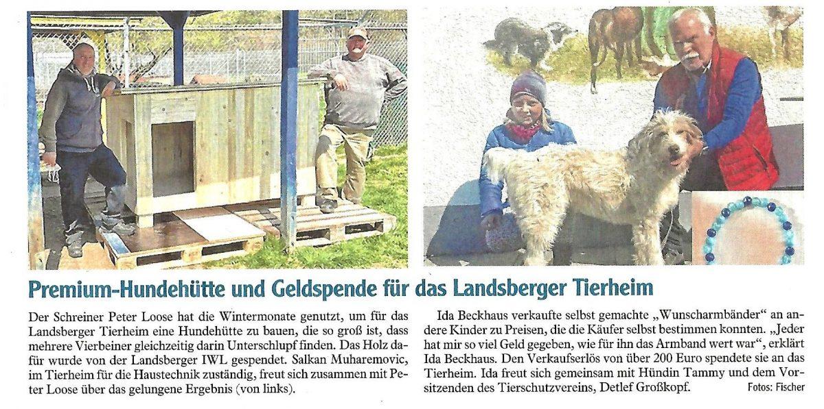 Zeitungsartikel Landsberger Tagblatt über die Spende der IWL, eine Hundehütte für das Tierheim Landsberg