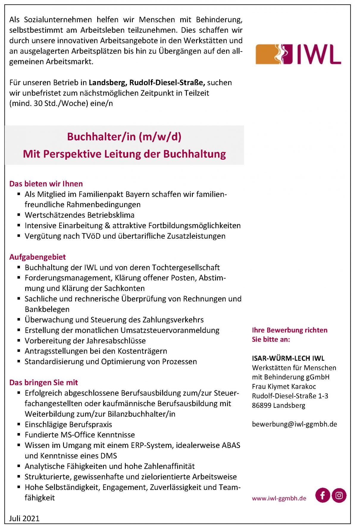 Stellenanzeige IWL Buchhalter/in Landsberg am Lech