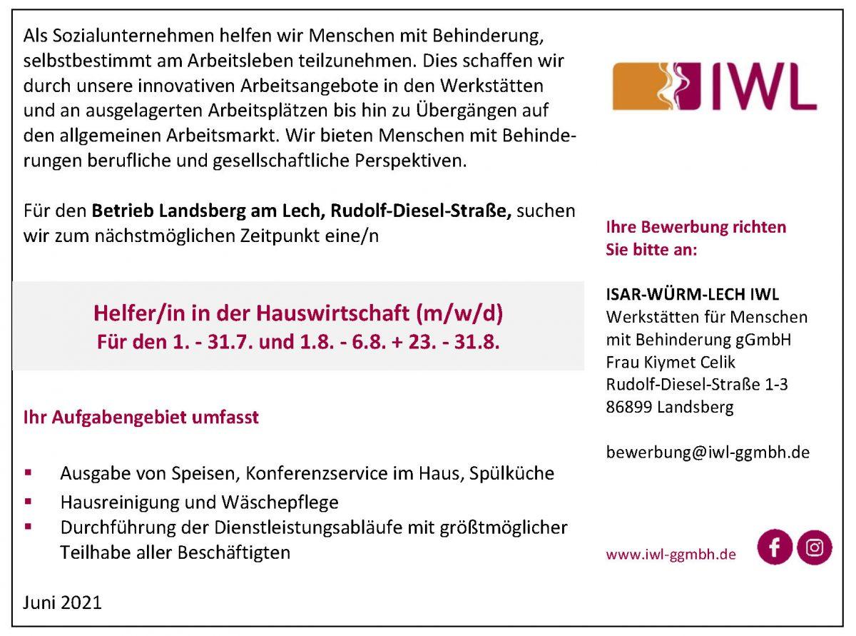 Stellenanzeige IWL Helfer/in in der Hauswirtschaft