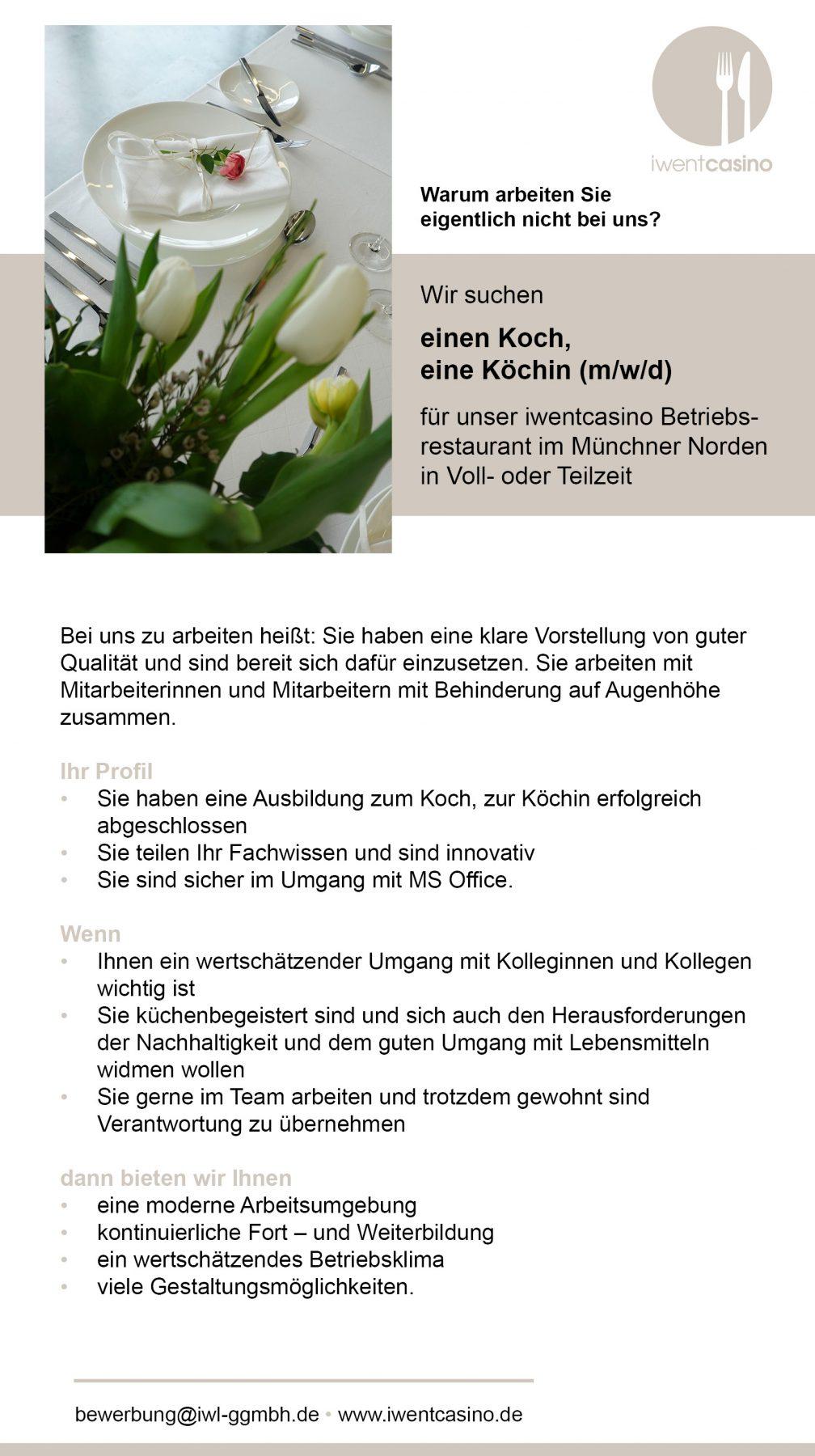 Stellenanzeige IWL iwentcasino München Koch, Köchin Gastronomie