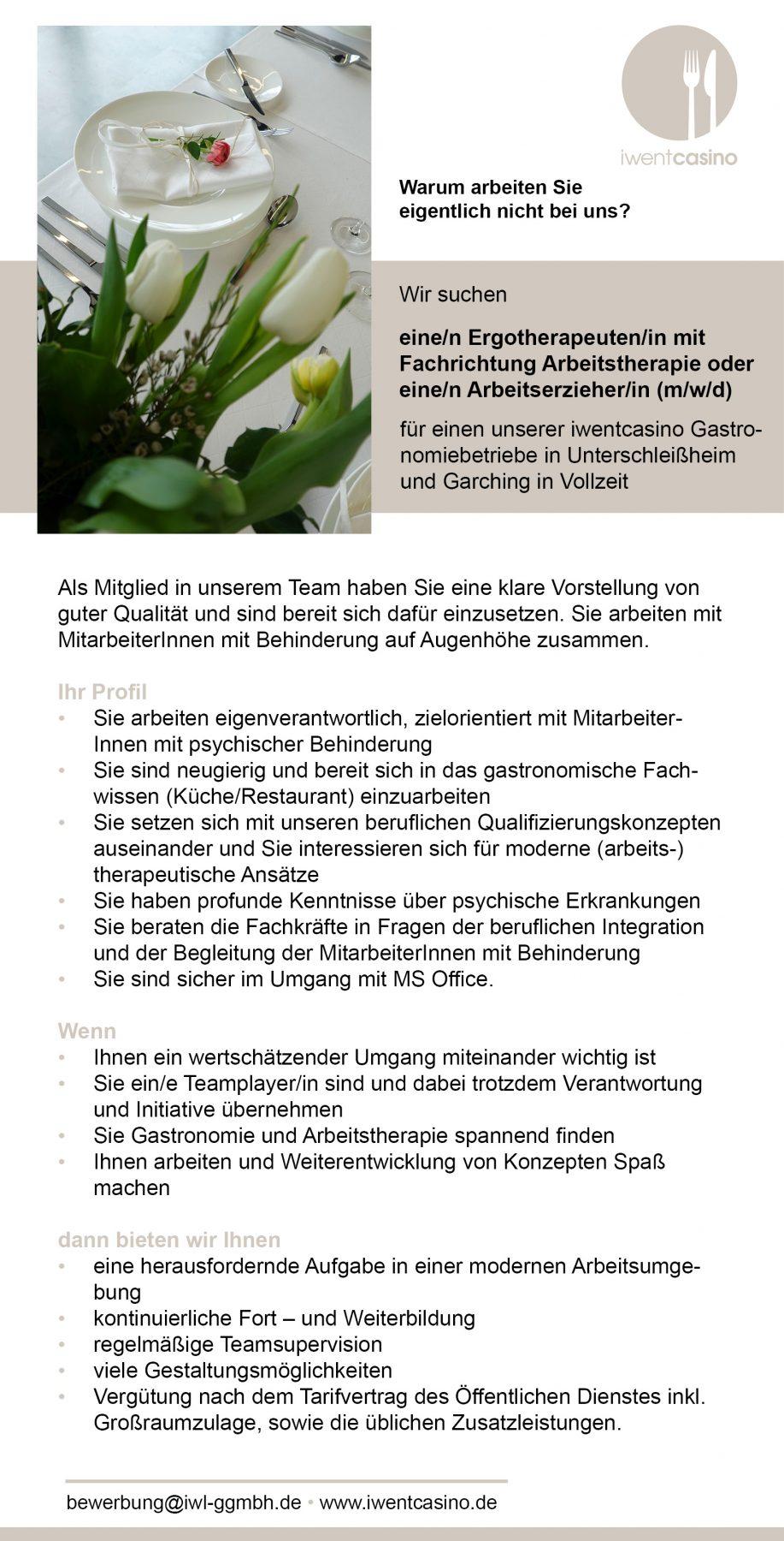 Stellenanzeige IWL iwentcasino München Ergotherapeutin, Ergotherapeut oder Arbeitserzieher, Arbeitserzieherin